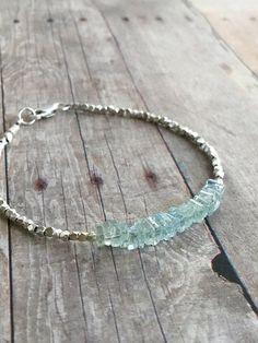 Aquamarine Gemstone Bracelet / March Birthstone Gift / Delicate Silver Bead Jewelry