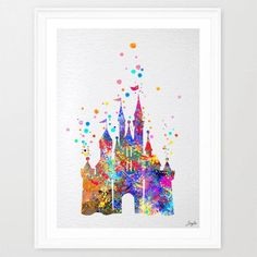 Cinderella Disney Princess Castle  #watercolor #art #illustration #print link: https://www.etsy.com/listing/216675341/
