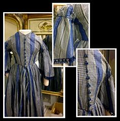 This blue silk gown is an exquisite piece of 1860s day wear, with gathered self-fabric trim at the dropped shoulders, fringed pagoda sleeves and acorn tassels at the front closure. The pattern is a fashionable one for the time, when large plaids and stripes were popular for women's clothing. The bodice is fitted with darts in the front, placed directly over two bold blue stripes and causing them to taper down towards the skirt, adding to the illusion of a small waist.