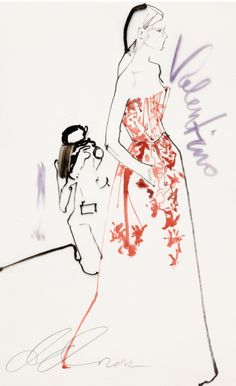 Fashion illustration by David Downton, 2012, Valentino, Paris Couture for Vogue.com.