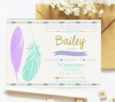 Wild One Birthday, Wild One Party, Birthday Invitation, Lavender Mint Gold, Tribal, First Birthday, Boho, Tribal, Feathers Arrows, Printable by SarahFinnDesign on Etsy