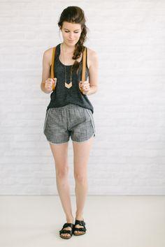 Dark Gray Tank// Light Gray Track Shorts// Black Burkinstocks// + Cognac Backpack +