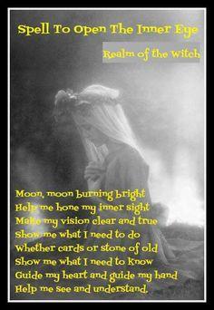 Spell to open the inner eye. Moon Spells, Magick Spells, Wicca Witchcraft, Hoodoo Spells, Luck Spells, Candle Spells, Witch Spell, Pagan Witch, Witches