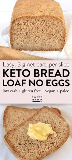 Vegan Keto bread loaf No Eggs, Low Carb with coconut flour, almond meal, psyllium husk and flaxmeal. A delicious easy keto sandwich bread with only g net carb per slice to fix your sandwich craving with no guilt! Coconut Flour Bread, Almond Flour Recipes, Almond Meal, Keto Almond Bread, Coconut Flour Recipes Keto, Almond Flour Biscuits, Baking With Almond Flour, Aperitivos Vegan, Pain Keto