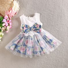New girls dress cotton floral dress for baby girl with bow yarn elegant dresses children and kids clothese jean dress retail