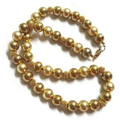 Vintage Single Strand Matte Bright Gold Tone with Spiral Wire Beads... ($22) ❤ liked on Polyvore featuring jewelry, necklaces, vintage bead necklace, gold tone necklace, wire bead jewelry, spiral necklace and vintage beaded jewelry