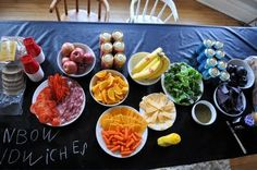 taste the rainbow..sandwich table