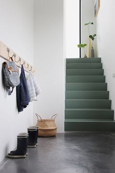 Entryway: entrance hall decor new entry hallway stairs hallway decor Painted Staircases, Painted Stairs, Spiral Staircases, Wood Stairs, Basement Stairs, Hallway Inspiration, Interior Inspiration, Design Inspiration, Entrance Hall Decor