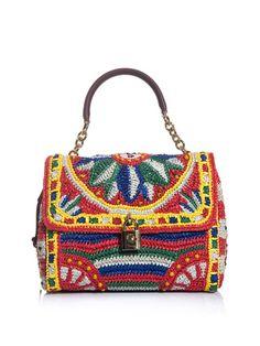 8e19601ae83b Buy Dolce   Gabbana Women s Flora Raffia and Beaded Bag
