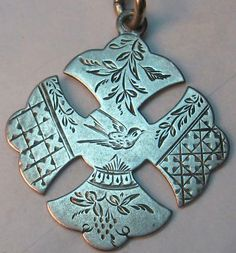 Victorian hand-engraved bird love token-type fob ~ From The Estate of Joan Munkacsi