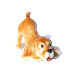 SPANIEL Porcelain figurine Dog High-quality hand painted Souvenirs Video preview by GlassFigurinesStudio on Etsy