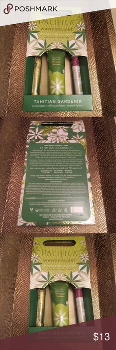 Pacifica Tahitian Gardenia Travel Pack NEW New in pack..my fave Gardenia scent❤️Travel size: body butter, roll-on perfume, quench lip tint. NWT Pacifica Makeup