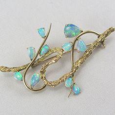 9422513f24 Vintage 14K Opal Brooch Pin Mid Century October от zestfulvintage October  Birth Stone