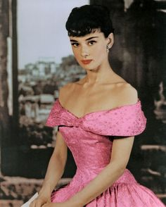 Audrey Hepburn pink off shoulder dress décolletage