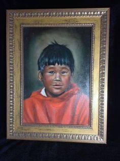 Vintage Original Art Oil Painting Alaskan Inuit Child Signed