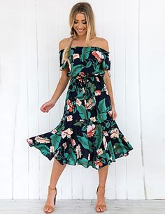 Sexy Floral Print Off Shoulder Vacation Maxi Dress Brand Dreamlipshop Color Green SKU Gender Women Style Elegant/Sexy/Fashion Type Maxi Dress Occasion Party/Vacation/Daily Life Material Polyester fiber Sleeve Shor Green Midi Dress, Khaki Dress, Yellow Dress, Robes Vintage, Dress Vintage, Vintage Floral, Bohemia Dress, Casual Dresses, Summer Dresses