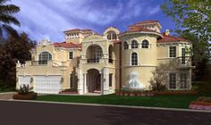 Italian Style House Plans - 8441 Square Foot Home , 3 Story, 6 Bedroom and 5 Bath, 3 Garage Stalls by Monster House Plans - Plan 37-198