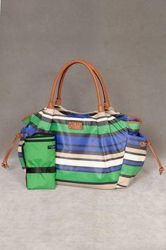Kate Spade Shoreline Stripe Stevie Baby Bag In Green & Cobalt.