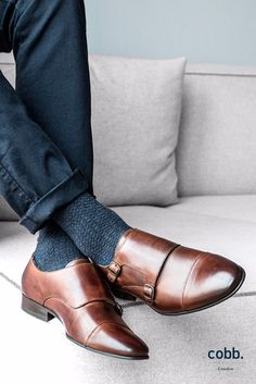 the brown leather monk with its decorative and eye-catching buckle brings a sophisticated and refined look to a gentleman's wardrobe. Men Shoes With Jeans, Mens Casual Leather Shoes, Brown Leather Shoes, Casual Shoes, Mens Monk Strap Shoes, Double Monk Strap Shoes, Men's Shoes, Dress Shoes, Shoes Jordans