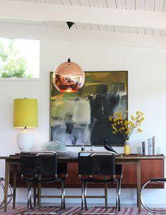 tom dixon copper shade pendant dining room mid century modern by Marcia Prentice