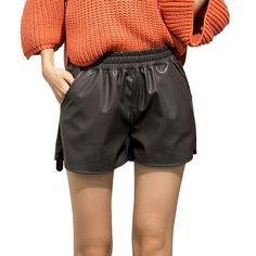 a2125e8580ec8  Korean Style PU Shorts  faux leather  Autumn  women shorts  High Waist