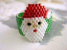 Peyote Ring Santa Christmas Beaded Seed Bead - size 5, 6, 7, 8, 9, 10, 11, 12 via Etsy