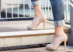 Cream and gold peeptoe ankle boots