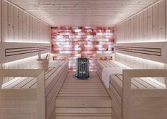 Harmony Solid Wood sauna room by TylöHelo. For home or commercial use as modular prefab sauna units as well as custom made for any budget and size requirements. Diy Sauna, Steam Sauna, Steam Bath, Saunas, Home Steam Room, Private Sauna, Sauna Design, Spa Interior, Sauna Room