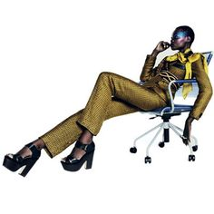 FASHION GONE ROGUE:    Aluad Deng Anei Suits Up for Marie Claire South Africa's April Issue http://www.fashion.net/today