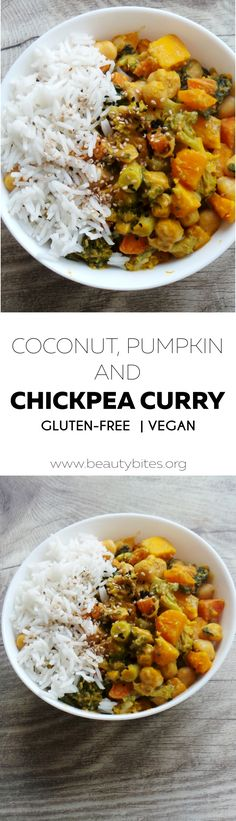 Healthy delicious vegan gluten-free coconut chickpea curry with pumpkin