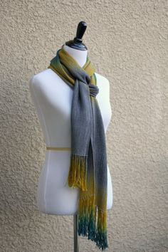 """Woven scarf, #pashmina scarf, handwoven scarf with gradually changing colors from silver grey to mustard and dark teal. Great accessory as a Fall scarf.  Measures: L: 78"""" wi... #kgthreads"""