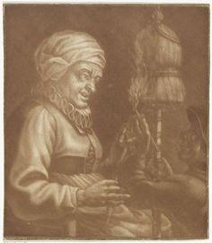 Anonymous | Oude vrouw met een spinrokken, Anonymous, 1650 - 1800 | Een oude vrouw met een spinrokken in de hand. Voor haar staat een man met een brandende pijp.