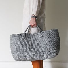gray sisal tote bag