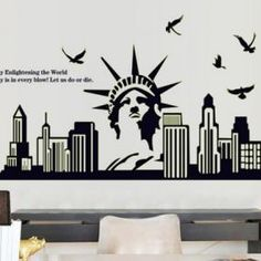 New York Statue Of Liberty Wall Decal Mural Decor Famous Landmarks  Removable Wall Decor Decal Sticker Fashion Free Shipping | New York Party  Board ... Part 70