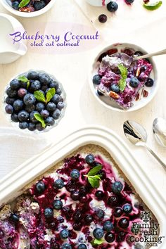 Blueberry-Coconut Baked Steel Cut Oatmeal recipe ~ a family favorite! on FamilyFreshCooking.com © MarlaMeridith.com