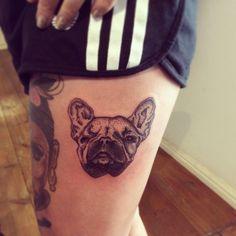 French Bulldog Dotwork Tattoo