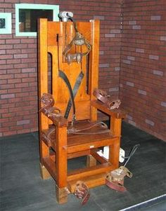 """Electric chair: prisoner's hands often grip the chair and there may be violent movement of the limbs which result in dislocation or fractures. The tissues swell.Steam or smoke rises and there is a smell of burning. The prisoner often defecates, urinates, and vomits blood and drool. The body turns bright red as its temperature rises, and the prisoner's flesh swells and his skin stretches to the point of breaking. Sometimes catches fire."""" Witnesses hear a loud and sustained sound like bacon…"""