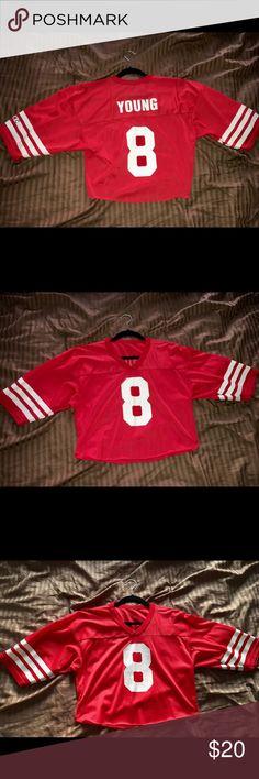 ✨STEVE YOUNG San Francisco 49ers 1988 crop jersey✨ STEVE YOUNG San Francisco 49ers 1988 Throwback Home NFL Football Jersey NFL Tops Crop Tops