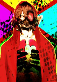 merdell, Fukuwa, Hood Up, Red Hoodie, Gas Mask
