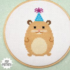 Hamster Counted Cross Stitch Pattern Download, sent by email. $4.00, via Etsy.