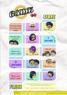 Game Board 9  Contents-Game Review booklet and theme flashcards.  Contains Everyday English, game review, grammar summary and worksheets.  Everyday English:  How many people are there in your family, Tony? There are four people. There are three people in my family.  Theme: Family Members mother, father, parents, sister, brother, uncle, aunt, cousins, grandparents, friends.  Grammar: Subject Pronouns 1  He is my father. Who is she?  Are they your parents?