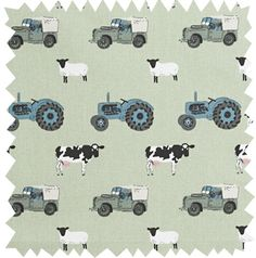 Farm tractor and landrover fabric by the metre Funky Nursery for gorgeous nursery furniture, nursery cot bedding and nursery decoration, cots, cot beds and baby bedding, nursery decoration and stylish highchairs Boys Farm Bedroom, Tractor Bedroom, Tractor Nursery, Farm Nursery, Boy Room, Boy Bedrooms, Bedroom Themes, Nursery Themes, Nursery Decor