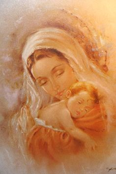 ✞ Blessed Mary and baby Jesus Religious Pictures, Jesus Pictures, Holly Pictures, Art Pictures, Blessed Mother Mary, Blessed Virgin Mary, Happy Mothers, Catholic Art, Religious Art