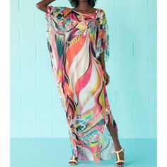 Miami Chic Colorful Sexy Floral Swimsuit Cover up Dress Sarongs Swimsuit