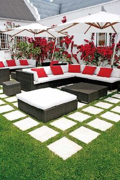 I like the idea of gradually decreasing the grass between as you approach the house (NE patio)