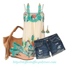 Acapulco Cami, T-bar sandals & Fringe bag, created by steffiestaffie on Polyvore