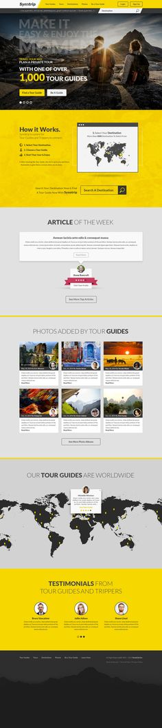 """Responsive Yellow Web Design With an Attractive GIF Animation for """"SynoTrip, inc"""" (Chinese Trip & Tour company)."""
