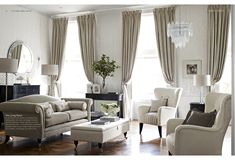 Find sophisticated detail in every Laura Ashley collection - home furnishings, children's room decor, and women, girls & men's fashion. Formal Living Rooms, Home Living Room, Living Area, Living Room Decor, Living Spaces, Dining Room, Laura Ashley Living Room, Laura Ashley Curtains, Ashley Bedroom