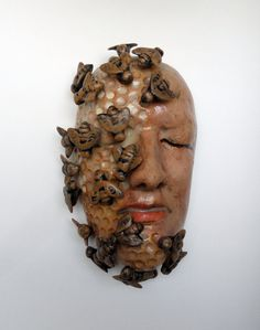 Ceramic Sculpture Mask The Beekeeper  READY TO SHIP by Mudgoddess, $245.00