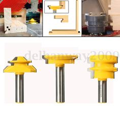 3Pcs Jointing Router Bit Set 1/2 Handle Lock Miter + Glue Joint + Drawer Front •…